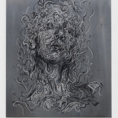 SWEET DREAMS Year: 2020 Dimensions: 65 x 55 cm Medium: Acrylic ink, metallic silver-embroidery on canvas. Photography: Ivonne Zijp