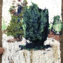 Shrub, Diane Lavoie, 2021, Shrub in Snow, fabric and thread, 10/7.5 cm