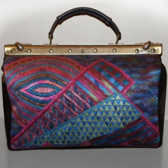 """TWILIGHT TIME, """"DOCTOR'S BAG"""", DESIGNED & HAND STITCHED, MADE IN ITALY WITH BLACK LEATHER"""