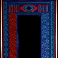 "WALL MIRROR, ""ALL KNOWING"", WITH BLUE MIRROR GLASS, H 63.5"" X W 33.5"" (H 161cm X W 85cm)"