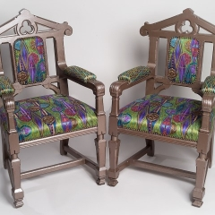 ANTIQUE ENGLISH 'GOTHIC STYLE' CHAIRS, 'INFINITY""