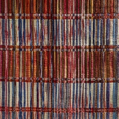 The Red Bookshelf. Josefin Gäfvert, Sweden. Wool partially hand dyed. Double weave in tabby. Handwoven in a countermarch loom with 8 shafts.