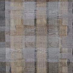 Memory. Lucy Rhodes, UK. Linen, spun silk, organzine, paper. Interchanging double weave. Handwoven in a 8-shaft Louet Jane table loom.