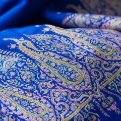 Handembroidery on royal blue cashmere