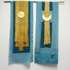 Doreen Stenzel, Sonne und Mond, Leinen, Seide, teilweise selbst gefärbt, ca. 80 x 100 cm
